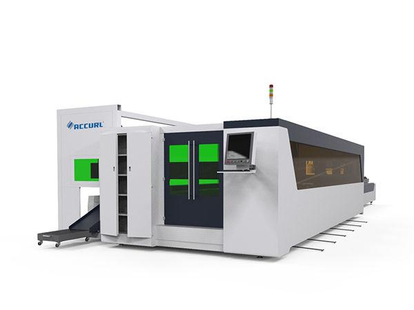 Macchina per taglio laser ad alta velocità in fibra di lamiera e piastra metallica 1500w con dispositivo rotante
